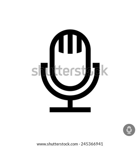 Microphone vector icon. Isolated on a white background. Retro style device. - stock vector