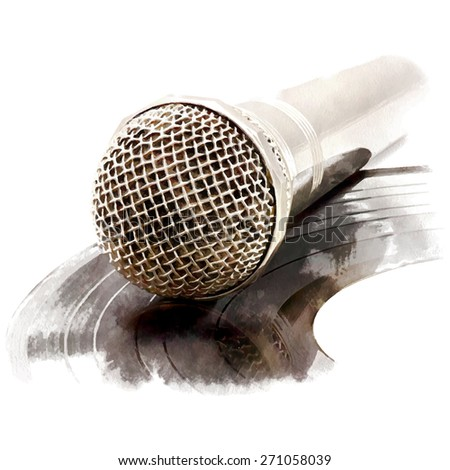 Microphone. Vector illustration. Watercolor imitation.  - stock vector