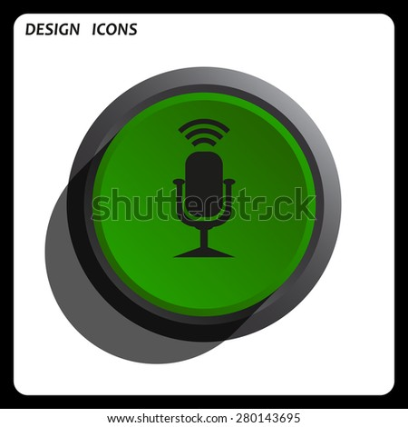 Microphone. Voice recording. icon. vector design Green Start button, forward, to continue. Flat design style.