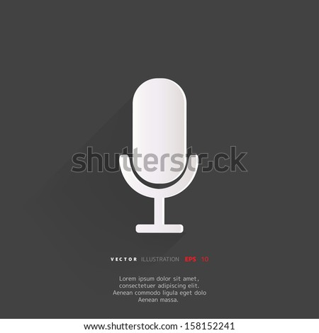 microphone web icon, flat design - stock vector