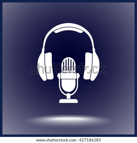 Microphone with headphones sign icon, vector illustration. Flat design style - stock vector