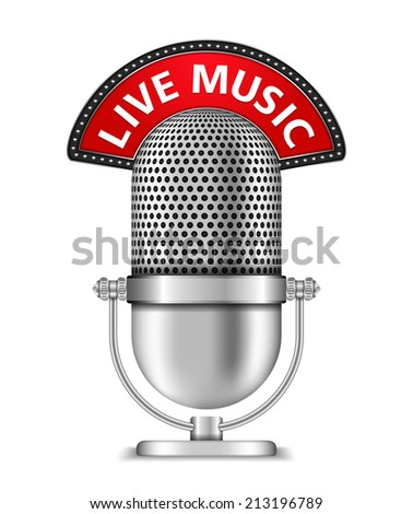 Microphone with live music banner, vector eps10 illustration - stock vector