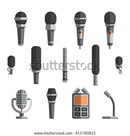 Microphones and dictaphone vector flat icons. Icon microphone, dictaphone electronic and recorder microphone, equipment microphone, device dictaphone, audio technology dictaphone illustration - stock vector