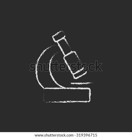 Microscope hand drawn in chalk on a blackboard vector white icon isolated on a black background. - stock vector