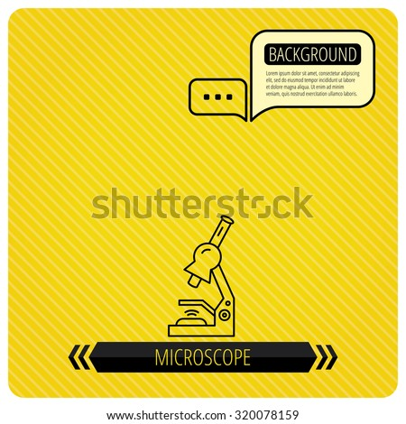 Microscope icon. Medical laboratory equipment sign. Pathology or scientific symbol. Chat speech bubbles. Orange line background. Vector - stock vector