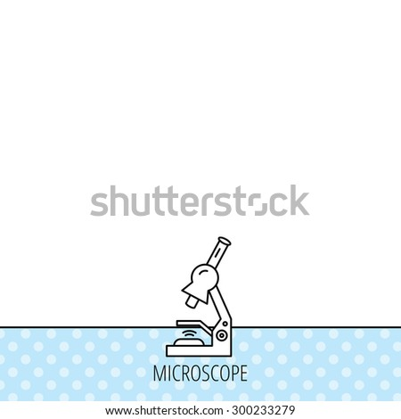 Microscope icon. Medical laboratory equipment sign. Pathology or scientific symbol. Circles seamless pattern. Background with icon. Vector - stock vector