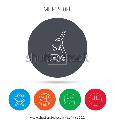 Microscope icon. Medical laboratory equipment sign. Pathology or scientific symbol. Globe, download and speech bubble buttons. Winner award symbol. Vector - stock vector