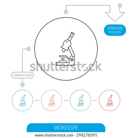 Microscope icon. Medical laboratory equipment sign. Pathology or scientific symbol. Line circle buttons. Download arrow symbol. Vector - stock vector