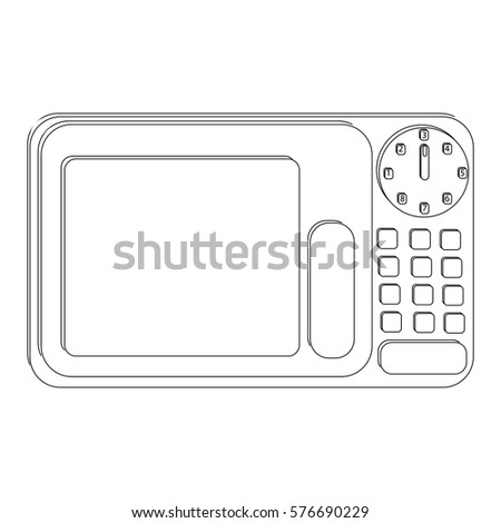 Microwave in black and white isolated on white background in flat style