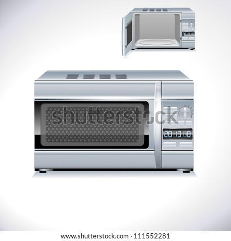 microwave oven. background illustration open closed - stock vector