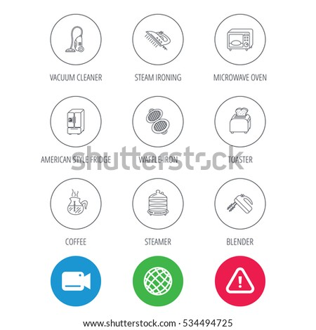 Microwave oven, coffee and blender icons. Refrigerator fridge, steamer and toaster linear signs. Vacuum cleaner, ironing and waffle-iron icons. Video cam, hazard attention and internet globe icons