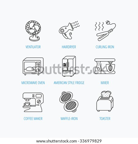 Microwave oven, hair dryer and blender icons. Refrigerator fridge, coffee maker and toaster linear signs. Ventilator, curling iron and waffle-iron icons. Linear set icons on white background.