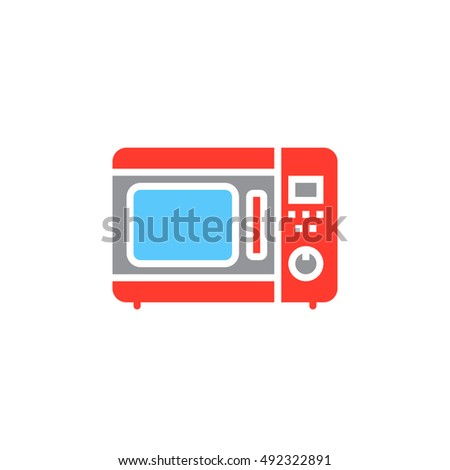 microwave oven icon vector, solid flat sign, colorful pictogram isolated on white, logo illustration