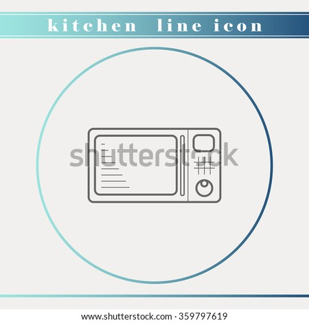 Microwave oven outline thin line icon. Household appliance, kitchen and restaurant accessories, equipment, kitchenware and cookware for food preparation. - stock vector