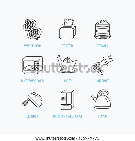 Microwave oven, teapot and blender icons. Refrigerator fridge, juicer and toaster linear signs. Hair dryer, steamer and waffle-iron icons. Linear set icons on white background. - stock vector