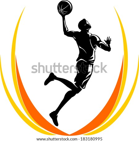 Mid Air Basketball Player - stock vector