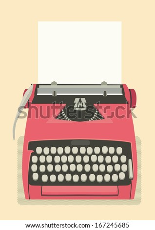 Mid century illustration with retro typewriter and paper sheet - stock vector