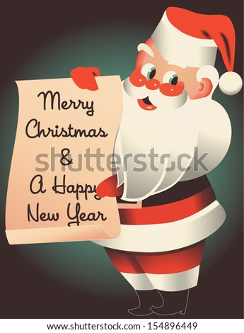 Mid-century Santa holding sign wishing you a Merry Christmas and a Happy New Year - stock vector