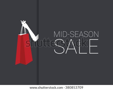 Mid season sale poster with woman hand holding red shopping bag. Discounts promotion banner. Eps10 vector illustration. - stock vector