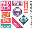 Mid-season sale typographic retro stickers collection. Vector illustration.  - stock vector