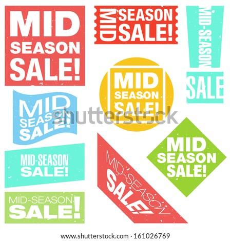 Mid-season sale typographic retro stickers collection. Vector illustration.  - stock vector