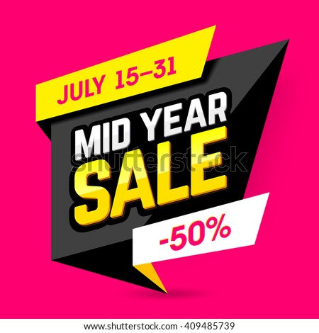 Mid Year Sale banner, poster. Big sale, special offer, discounts, 50% off. Vector illustration. - stock vector