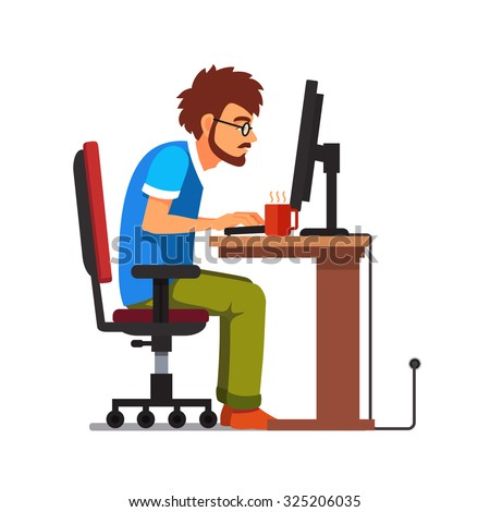 Middle age work addict geek sitting at the computer desk. Flat style vector illustration isolated on white background. - stock vector