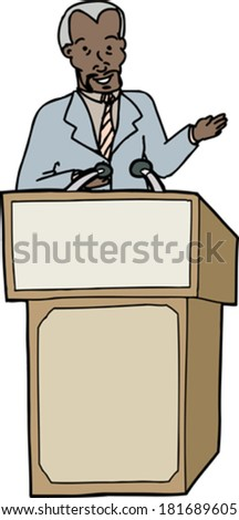 Middle aged Black business man speaking on isolated background - stock vector