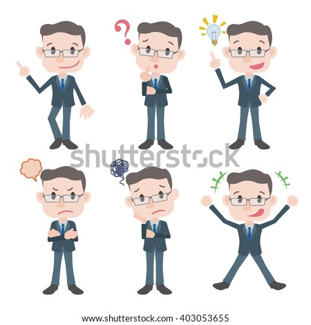 middle aged business person character various feeling clip art set, vector illustration