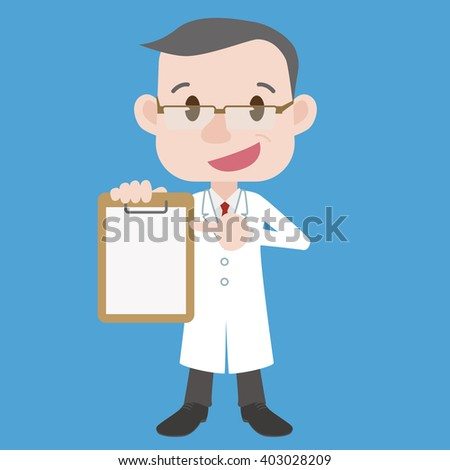 middle aged doctor (or professor) character point at document, wearing white coat, vector clip art illustration