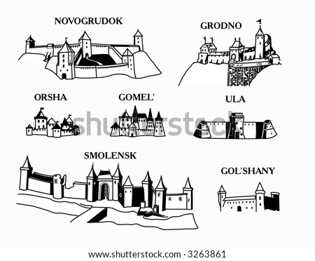 Middle Ages town and castle vector