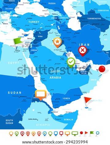 Middle East Asia Map Navigation Icons Stock Vector 294235994 ...