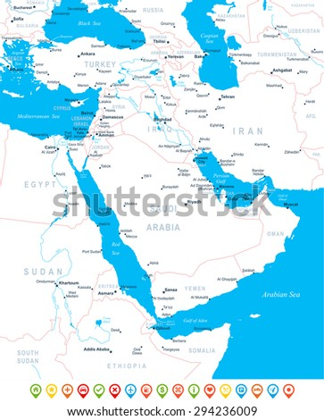 Middle East and Asia - map, navigation icons - illustration  - stock vector