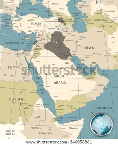 Middle East And West Asia Map Old Colors. - stock vector