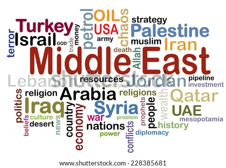 Middle East conceptial tag cloud vector artwork  - stock vector