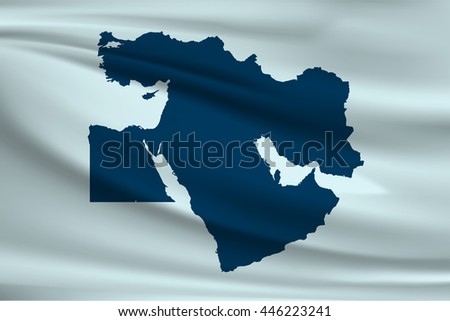 Middle East Flag. Map of the Middle East - stock vector
