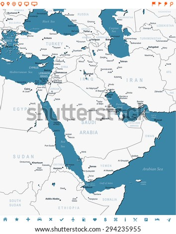 Middle East - map and navigation labels - illustration  - stock vector