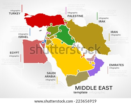 Middle east map concept infographic template with countries made out of puzzle pieces - stock vector