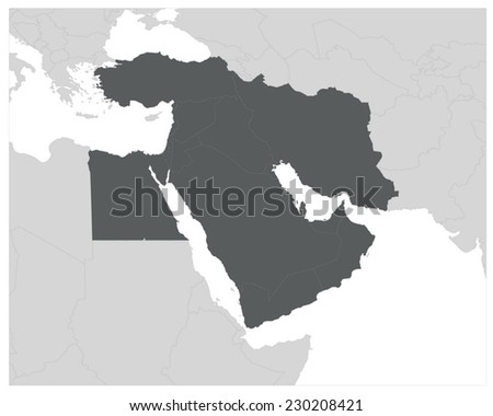 Middle East Map - Gray EPS8 - stock vector