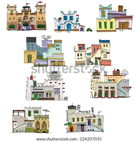 Middle East traditional facades - cartoon - stock vector