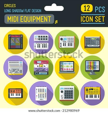 Midi controllers flat long shadow circle icon set. Vector trendy illustrations.  - stock vector