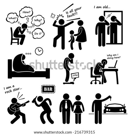 Midlife Crisis Middle Age Man Problem Stick Figure Pictogram Icons - stock vector