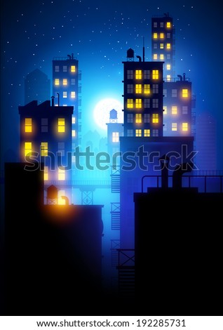 Midnight City.  Vector illustration of apartment blocks in a city at night. - stock vector