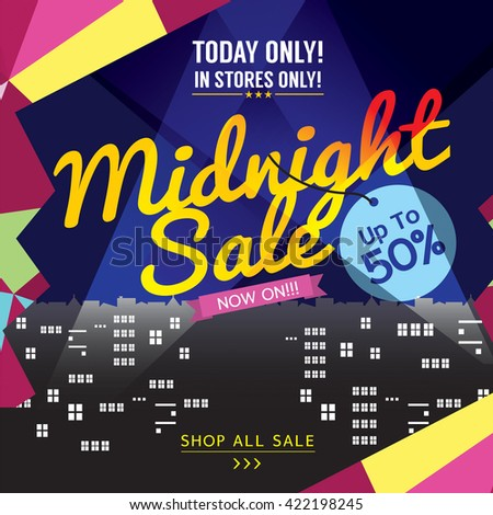 Midnight Sale Banner Vector Illustration
