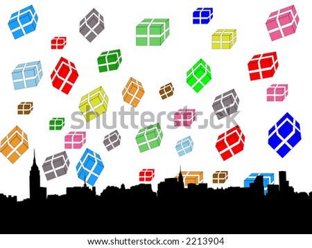 Midtown manhattan New York City skyline at christmas illustration with falling presents - stock vector