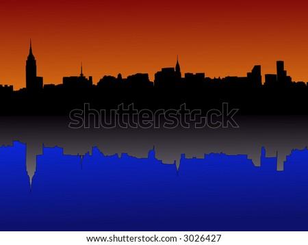 Midtown manhattan New York City skyline at dusk reflected in water - stock vector