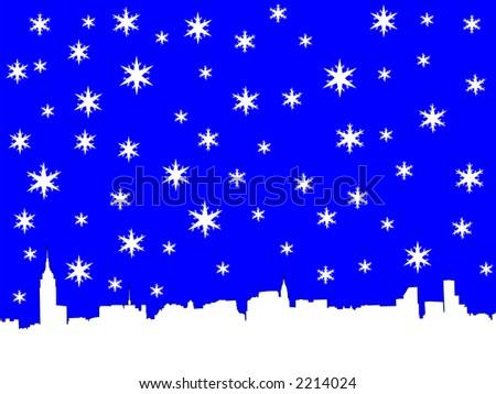 Midtown manhattan New York City skyline in winter illustration with snowflakes - stock vector