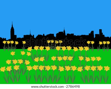 Midtown manhattan skyline in springtime with daffodils illustration - stock vector