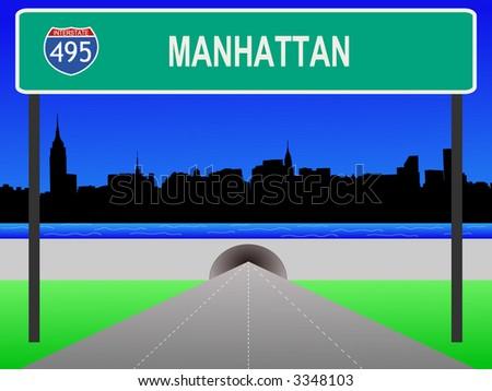 Midtown manhattan, tunnel and interstate 495 sign illustration - stock vector
