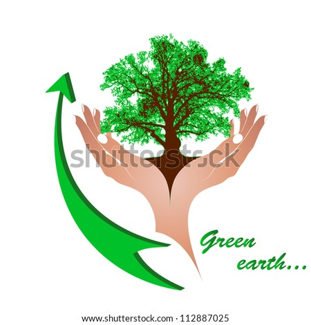 Mighty green oak in gentle female hands and a green arrow. The concept - environmental protection, recycling. Vector. eps 8 - stock vector